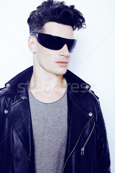 young handsome modern man in sunglasses like robot, lifestyle fashion style people concept Stock photo © iordani