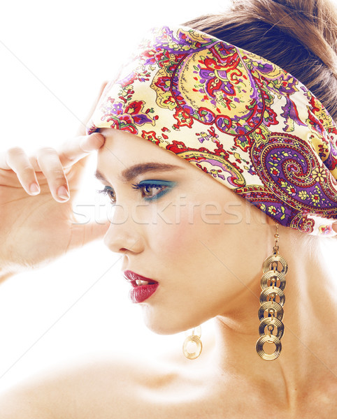 young blond woman dressed like ancient greek godess, gold jewelry close up isolated, beautiful girl  Stock photo © iordani