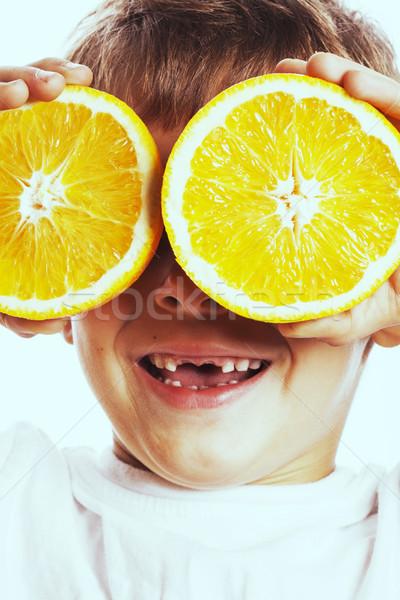 Pequeño cute nino de frutas de naranja doble aislado Foto stock © iordani