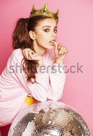 Jonge cute disco meisje roze disco ball Stockfoto © iordani