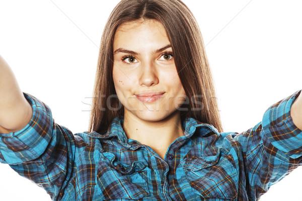 Stockfoto: Cute · tienermeisjes · geïsoleerd · witte · meisje