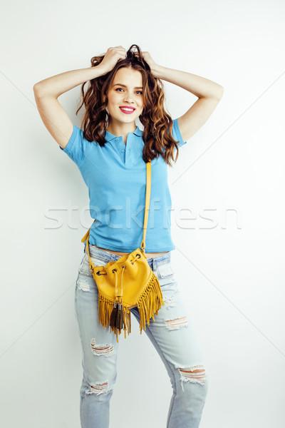 小さな かなり 長髪 女性 幸せ 笑みを浮かべて ストックフォト © iordani