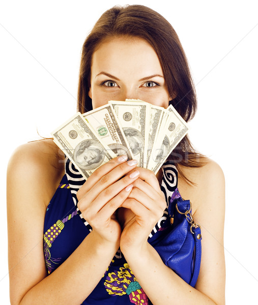 pretty young brunette real modern woman with money cash isolated on white background happy smiling,  Stock photo © iordani