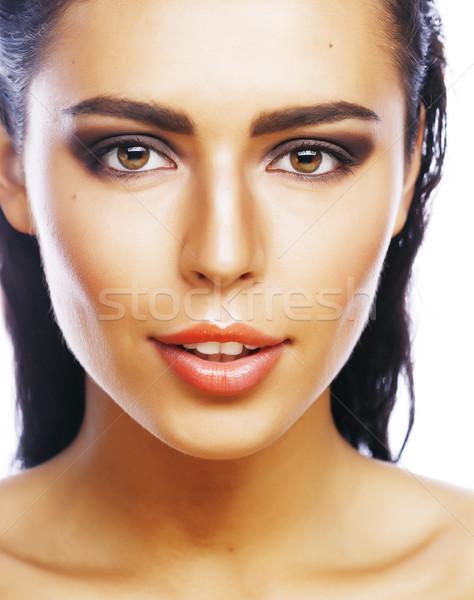 Perfetto bellezza effettivo bruna donna isolato Foto d'archivio © iordani