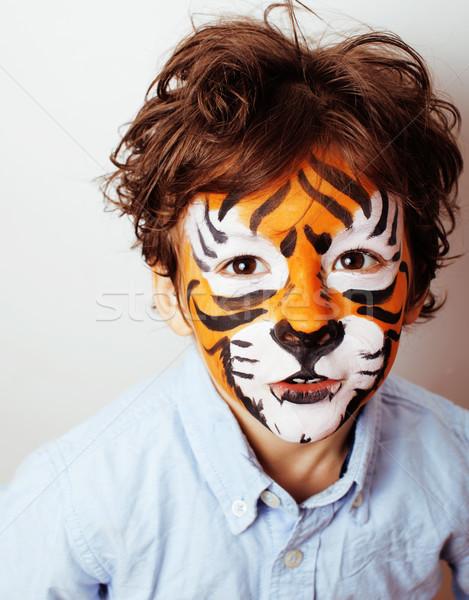 Stok fotoğraf: Küçük · sevimli · erkek · doğum · günü · partisi · turuncu