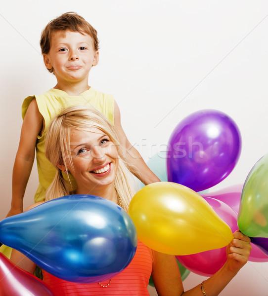 Bella famiglia colore palloncini bianco Foto d'archivio © iordani