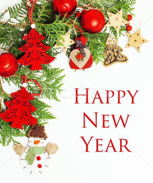 Рождества украшение изолированный белый пост карт Сток-фото © iordani