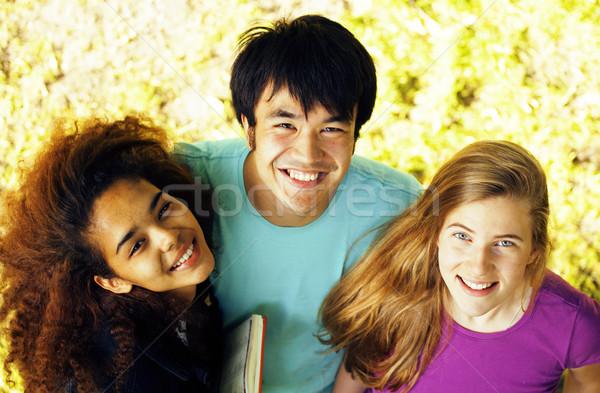 Cute groep gebouw universiteit boeken diversiteit Stockfoto © iordani