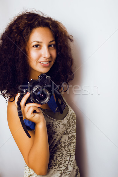 young pretty taned girl close up portrait smiling confident brunette warm, lifestyle people concept Stock photo © iordani