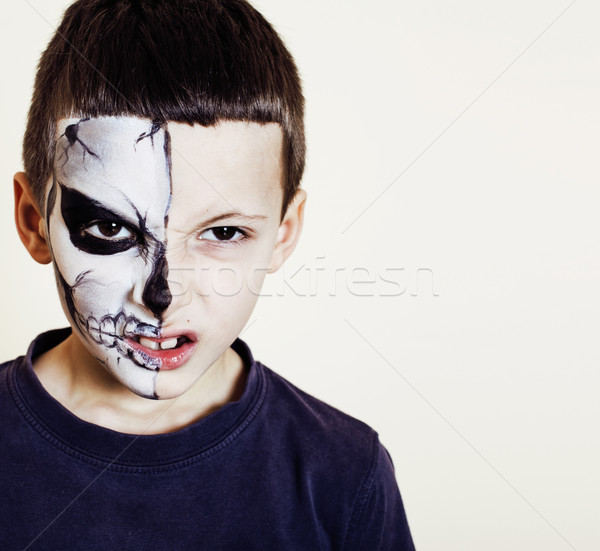 #7829719 little cute boy with facepaint like skeleton to celebrate hallow by ...