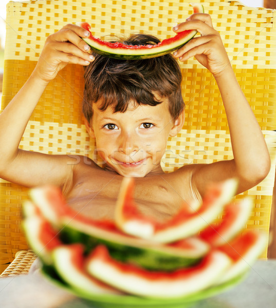 cute young little boy with watermelon crustes smiling Stock photo © iordani