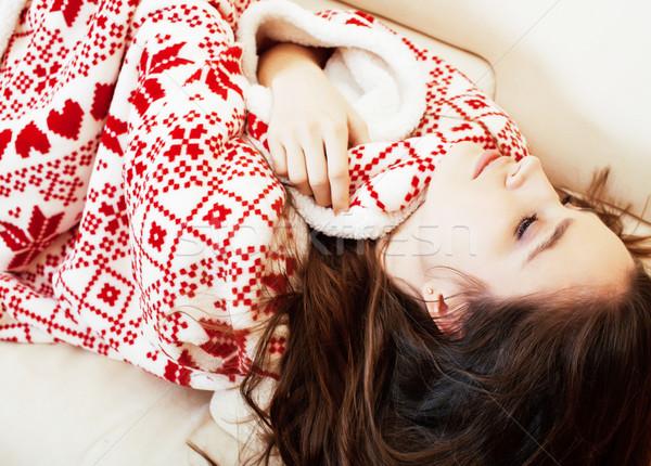 Genç güzel esmer kız Noel süs Stok fotoğraf © iordani