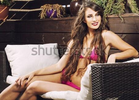 Fiatal csinos elegáns nő piros tél Stock fotó © iordani