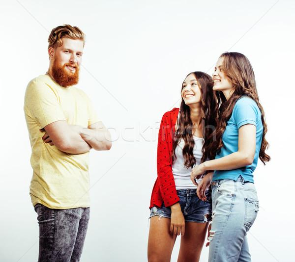 Cég hipszter srácok szakállas vörös haj fiú Stock fotó © iordani