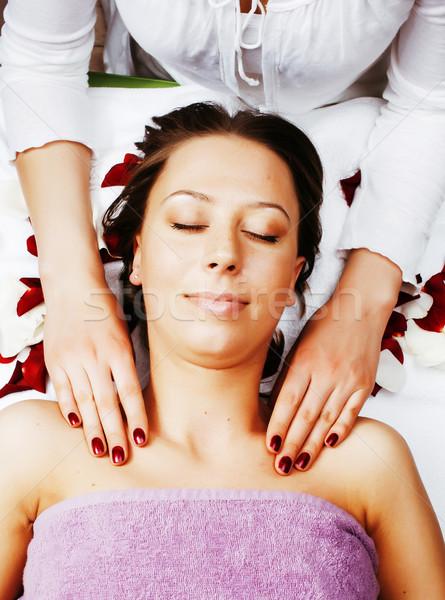 stock photo attractive lady getting spa treatment in salon, heal Stock photo © iordani