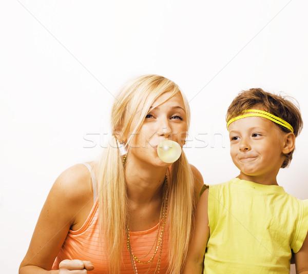 Divertente madre figlio bolla gum Foto d'archivio © iordani