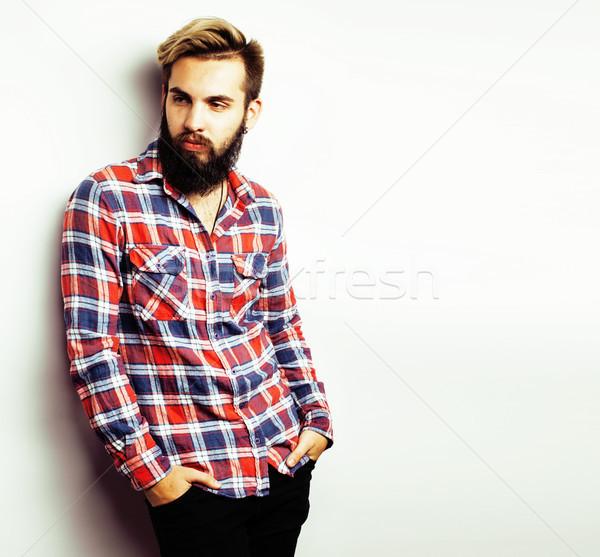 Сток-фото: портрет · молодые · бородатый · парень · серый
