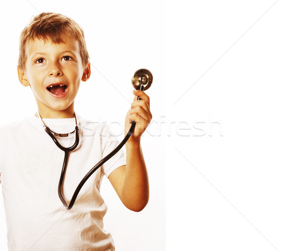 Peu cute garçon stéthoscope jouer comme Photo stock © iordani