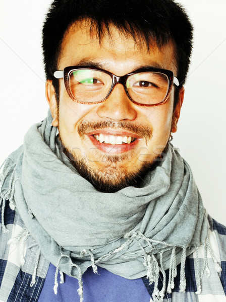 Stock photo: young handsome asian man hipster in glasses on white background