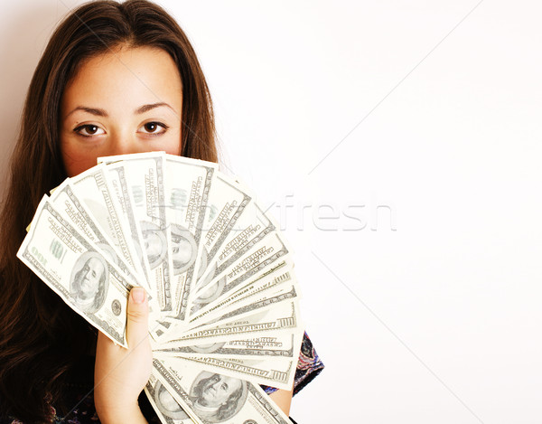 portrait of pretty young woman with money, isolated on white background Stock photo © iordani