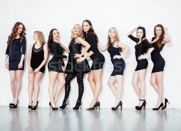 Csoport sok hideg modern lányok barátok Stock fotó © iordani