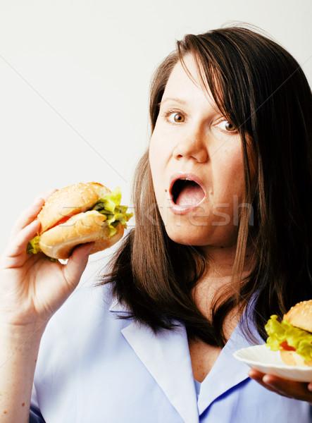 Grasso bianco donna scelta hamburger insalata Foto d'archivio © iordani