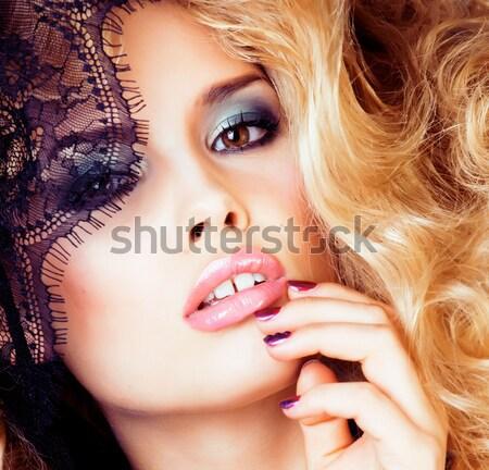 Fiatal csinos nő szőke haj fehér érzéki Stock fotó © iordani