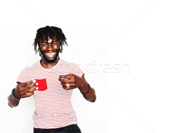 young handsome afro american boy stylish hipster gesturing emotional isolated on white background sm Stock photo © iordani