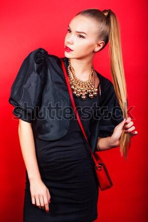 Jonge mooie vrouw dame poseren Rood lifestyle Stockfoto © iordani