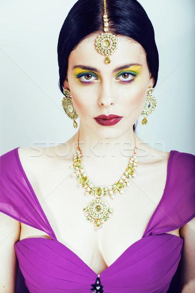 Fiatal csinos kaukázusi nő ahogy indiai Stock fotó © iordani