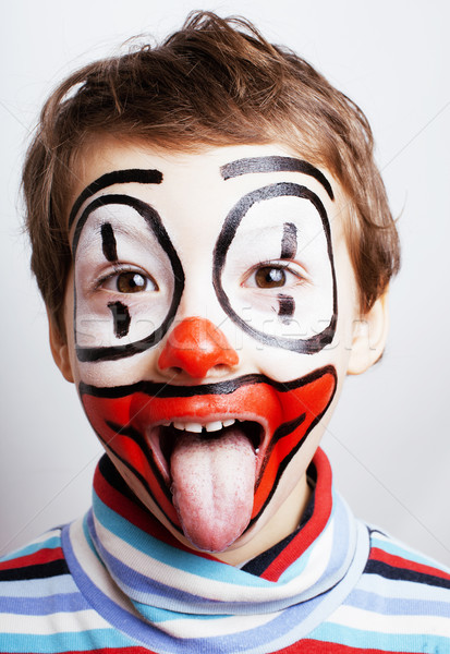 little cute real boy with facepaint like clown, pantomimic expre Stock photo © iordani