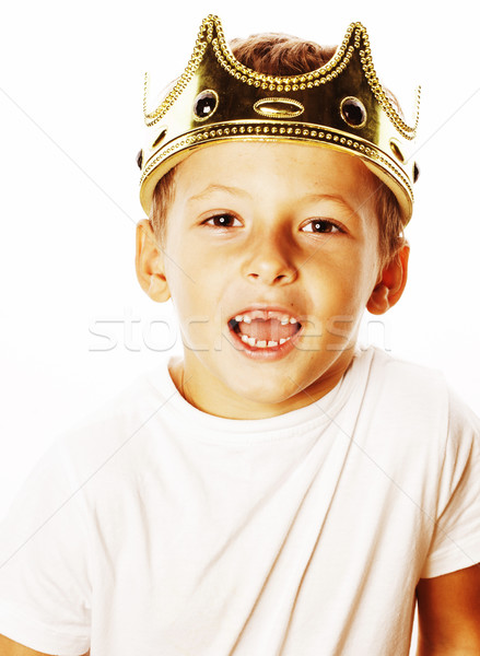 little cute boy wearing crown isolated close up on white Stock photo © iordani