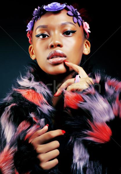 молодые довольно афроамериканец женщину шуба Сток-фото © iordani