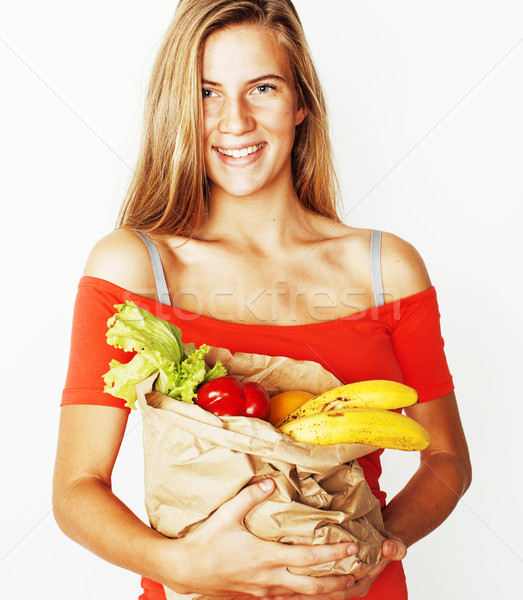 Fiatal csinos szőke nő vásárlás étel Stock fotó © iordani