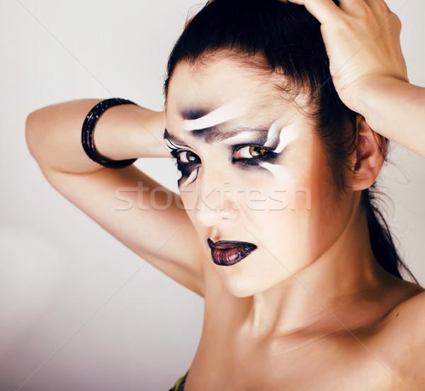 beauty young woman with creative make up like zebra closeup, wav Stock photo © iordani