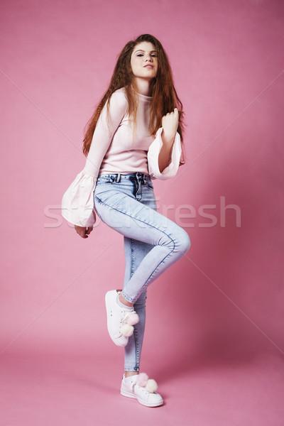 Genç güzel zencefil kız atlama Stok fotoğraf © iordani