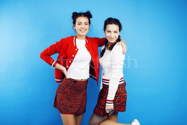 Legjobb barátok tini iskola lányok együtt szórakozás Stock fotó © iordani