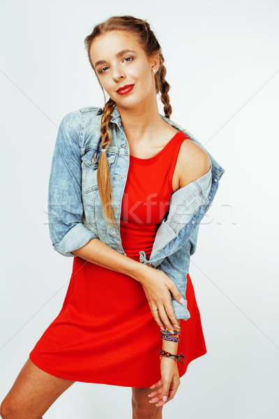 Jeunes joli cheveux blonds femme heureux souriant Photo stock © iordani