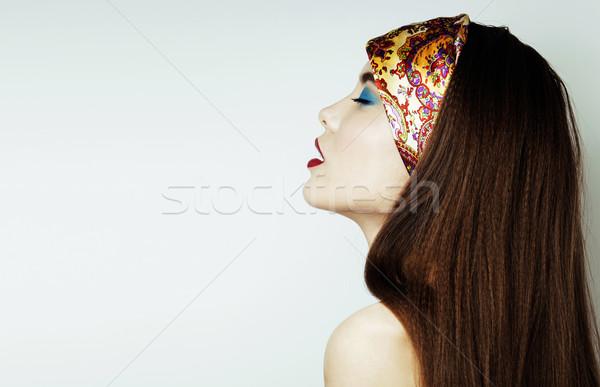 Sexy piękna dziewczyna czerwone usta paznokcie prowokacyjny Zdjęcia stock © iordani