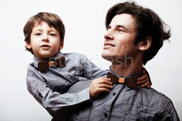 Vader zoon witte toevallig kijken normaal familie Stockfoto © iordani