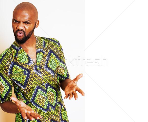 Portret jonge knap afrikaanse man Stockfoto © iordani