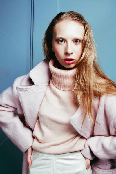小さな ブロンド 十代の少女 毛皮のコート ファッション モデル ストックフォト © iordani