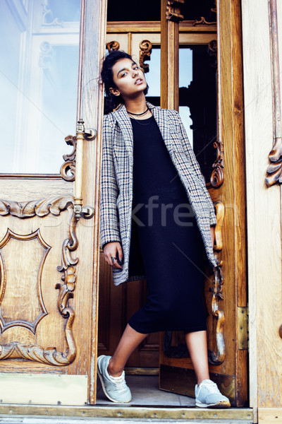 young pretty student teenage indian girl in doors happy smiling, Stock photo © iordani