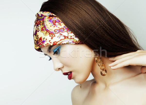 Foto stock: Sensual · beleza · menina · lábios · vermelhos · unhas · provocante