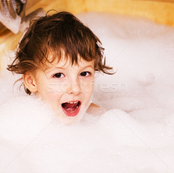 little cute boy in bathroom with bubbles close up, lifestyle real people concept Stock photo © iordani
