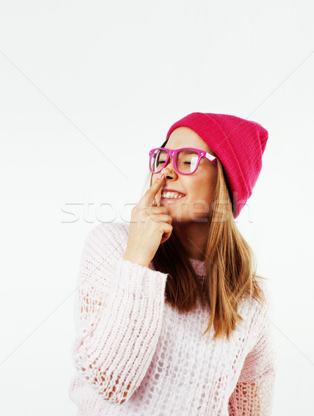 young pretty stylish brunette hipster girl posing emotional isolated on white background happy smili Stock photo © iordani