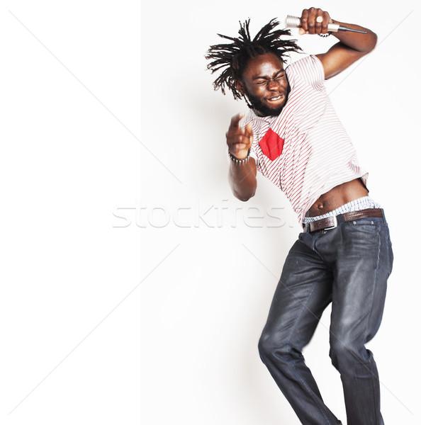 молодые красивый афроамериканец мальчика пения Сток-фото © iordani