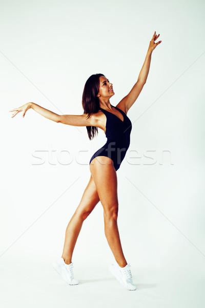 Jonge mooie slank vrouw gymnasium geïsoleerd Stockfoto © iordani