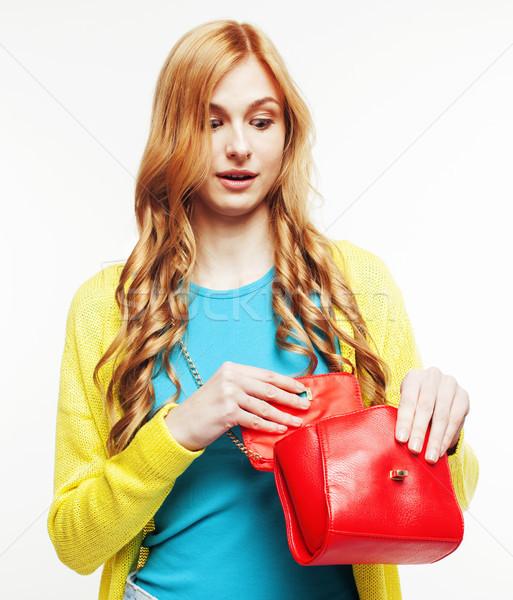 молодые красивая женщина мало Cute сумочка позируют Сток-фото © iordani