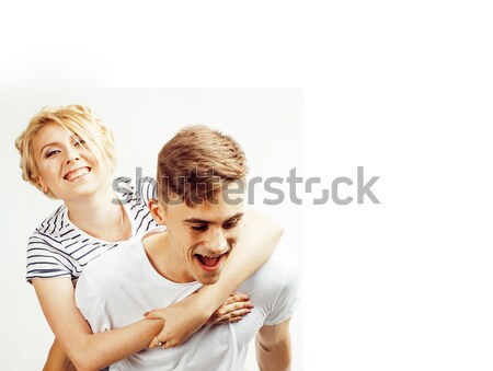 young pretty teenage couple, hipster guy with his girlfriend hap Stock photo © iordani